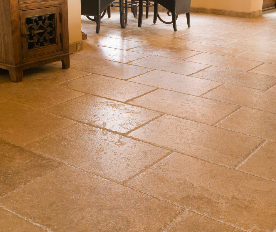 Travertine tile flooring in a kitchen